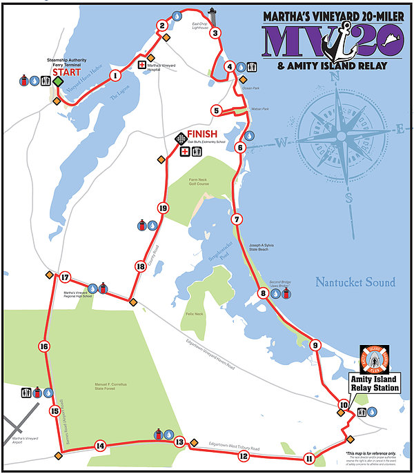 Google Map Request: Martha's Vineyard 20 Miler & Amity Island Relay 2017