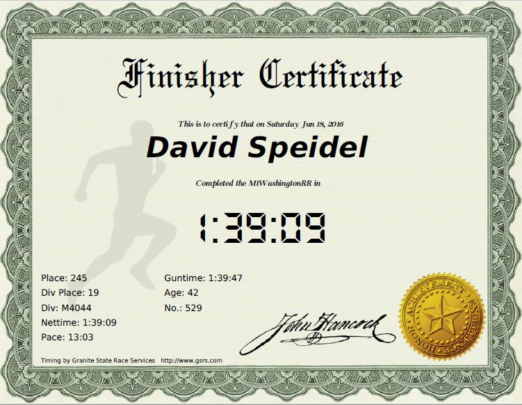 Finisher certificates | Granite State Race Services